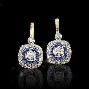 Art Deco Style White Cushion Blue Princess 925 Sterling Silver Dangle Earrings