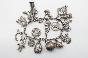 Vintage .925 Sterling Silver CHARM BRACELET w/ Souvenir, St Christopher (71g)