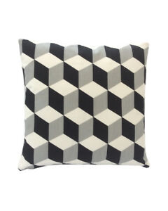 """16""""  Black Grey white Geometric scatter cushion covers pillow sham made in UK"""