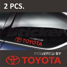 2 pcs. Powered by TOYOTA  Window Decal sticker emblem Silver + Red logo