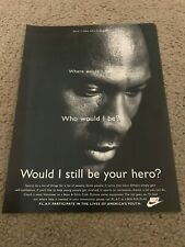 "Vintage MICHAEL JORDAN NIKE Poster Print Ad 1990s ""WOULD I STILL BE YOUR HERO?"""