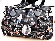 "Betty Boop Multi-color PVC Large Travel Tote Duffle Bag Purse:12x16x5"" Top zip"