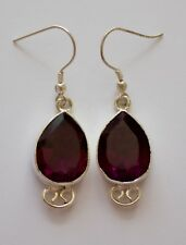 Facet Red/Violet Glass, Silver Plated Earrings