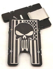 American Flag,Punisher, Aluminum Wallet/Credit Card Holder, RFID protection, Blk