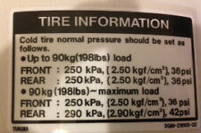 YAMAHA FZR1000 EXUP TYRE CAUTION WARNING DECAL