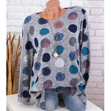 Plus S-5XL Women Long Sleeve Casual Polka Dot Printed T Shirt Pullover Tops USA