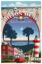 Hilton Head South Carolina Montage, Lighthouse, Streetcar etc. - Modern Postcard