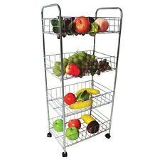 4 Livello Trolley CHROME frutta verdura cucina Storage Rack carrello con ruote