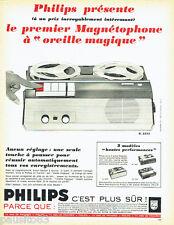 PUBLICITE ADVERTISING 036  1965  Philips  magnétophone  EL 3552 oreille magique
