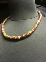 RED GOLD GREEN WITH BROWN BEADED NECKLACE HAND MADE ROOTS RASTA