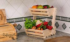 2 niveles de madera fruta de almacenamiento de alimentos vegetales Rack Clásico