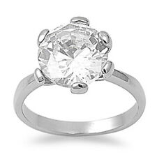 Clear CZ Ring Wholesale Polished Stainless Steel Band New USA 12mm Sizes 5-10