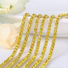 2/2.5/3/4mm Crystal Rhinestone Close Chain Trim Sewing Craft DIY Crystal Chain