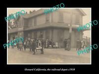 OLD LARGE HISTORIC PHOTO OF OXNARD CALIFORNIA, THE RAILROAD DEPOT STATION c1910