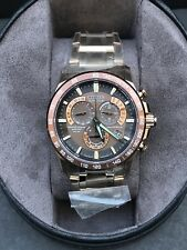 New Citizen Eco-Drive Radio Controlled Rose Gold Stainless Men Watch AT4106-52X