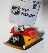 Pittsburgh Penguins Christmas Tree Holiday Ornament New - 2 Metal Bells with bow