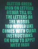 "3"" VINYL IRON ON LETTERS GLITTER GREEN TRANSFER T-SHIRT PRINTING"