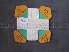 R536 Mercerie vintage ancienne carte à fil Cablé glacé 6 fils 100 J.T.P.F blanc