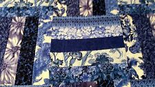 Blue and White Rail Fence Quilt, King