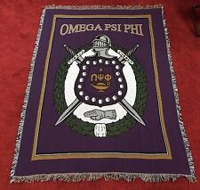 OMEGA PSI PHI Afghan / Tapestry / Throw / Blanket - Crest / Shield . . NEW
