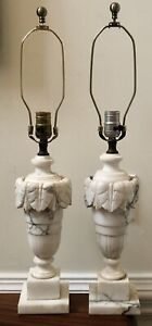 Pair Vintage MCM Neoclassical Marble Alabaster Urn Table Lamps White Gray Greek