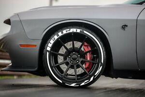 "HELLCAT SRT STRIPES Tire Lettering PERMANENT Stickers 14""-24"" 4 tires 1.25"""