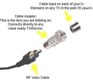 TV RF adapter F plug in Coaxial female intellivision Coleco Atari 2600 7800 NES