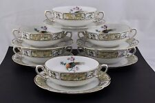 SET OF 6 ROSENTHAL CREAM SOUP CUPS AND SAUCERS IN R350 PATTERN – MINT