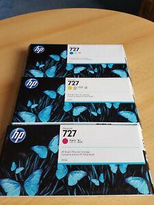 3 Original HP DesignJet 727 Tintenpatronen in Cyan, Gelb und Magenta