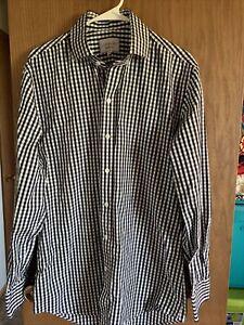 LEDBURY Fine Shirtmaker Dress Shirt Black Gingham Checks Spread Collar Sz 16 1/2