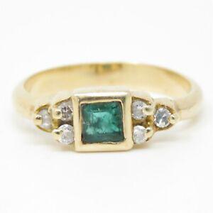 NYJEWEL 14k Yellow Gold 0.76ctw Natural Emerald & Diamond Ring Size 6