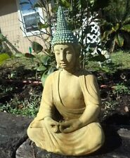 Pointed Head Meditating Buddha Cement Statue Beautifully Patina Stained
