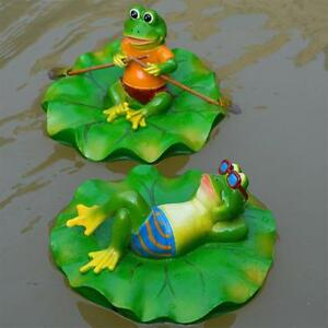 Garden Outdoor Lawn Pool Floating Frog Sculpture Ornament Decor Resin Statue