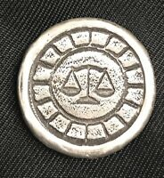"1 Troy Oz  MK BarZ  ""Justice for All"" Stamped Round .999 Fine Silver"