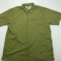 THE NORTH FACE Button Front Short Sleeve Shirt Size Large Pocket Cotton Green