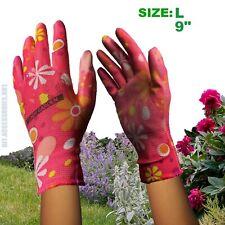 1 x Pair SIZE L Ladies Gardening Garden Gloves Coat Palm Green Floral Pattern