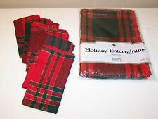 "Bardwil Linens Red Green Plaid Christmas 52""x70"" Tablecloth & Napkins"