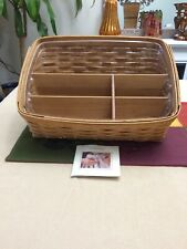 Longaberger Mail Office Organizer Basket Protector, & Wooden Dividers Rare 45071