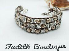 BRIGHTON SEDONA WIDE Crystal Pearl  Bead Bracelet