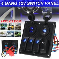 4 Gang 12V Switch Panel Dual USB For Caravan Yacht Boat Marine RV Truck Blue LED
