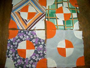 Antique Vintage Rescued Cutter Quilt Top Blocks ~ Great Halloween Fall Orange