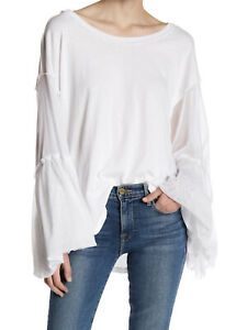 🤩 NEW FREE PEOPLE We The Free White Still Got It Tee Bell Sleeve Top Medium