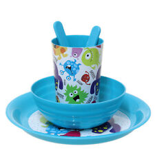 Blue Kids Monsters Dinner Lunch Set for Boys Toddler Childrens Plate Bowl Cup
