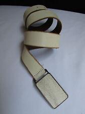 DKNY Women Men White Cream Leather Western Fashion Belt Square Buckle Size 38