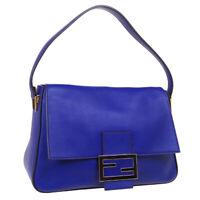 FENDI Mamma Baguette Jumbo Hand Bag 8BR638-D16 129-2111 Purse Blue Leather 39864