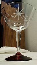 Elegant Weston Glass Ruby Red Footed Star Flower Cut 8oz Tall Sherbert Glass