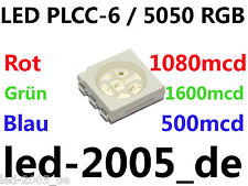 40 x SMD LED PLCC-6 RGB 1080 1600 500mcd,SMD LED plcc6 5050 Red Green Blue,