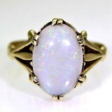 Vintage Semi Black Opal 9ct Yellow Gold ring size O ~ 7 1/4