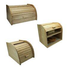 More details for  rb bread bin home wooden kitchen food storage roll top beechwood rack holder