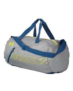 Under Armour UA Water Repellant Packable Duffel Sport Gym Bag Grey / Blue 41L